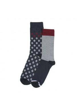 Zent 2 pak grå og koks med rød kant og koks med prikker i grå og rød