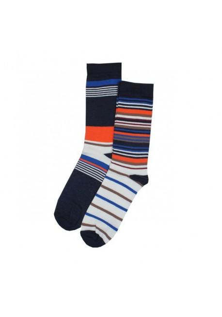 2 pak strømper navy og råhvid med striber i orange/brun/blå