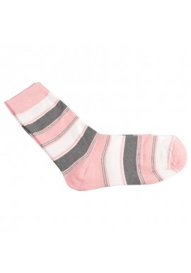 Capital strømpe i lyserød, hvid og grå striber