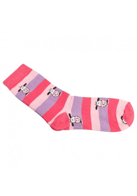 Capital strømpe i lyserød, pink og lilla striber med ko