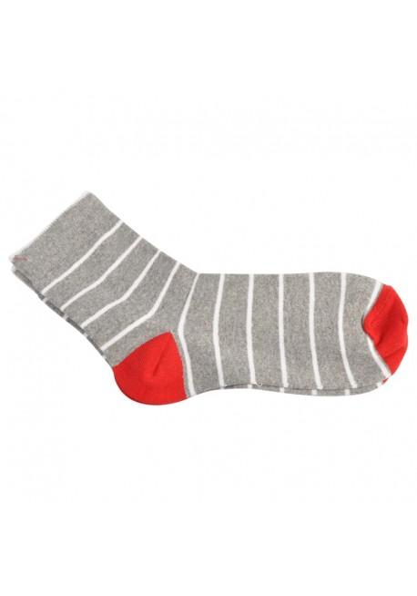 Capital strømpe grå med hvide striber og rød hæl og tå